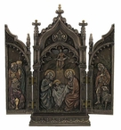 Bronze Nativity In Cathedral Triptych Religious Sculpture
