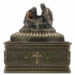 Bronze Nativity Scene Trinket Box