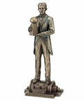 Bronze Nikola Tesla Holding a Model of Wardenclyffe Tower Sculpture
