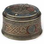 Bronze Norse God Odin Round Viking Trinket Box