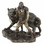 Bronze Norse God Tyr and the Binding of Fenrir Sculpture