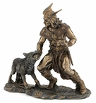 Bronze Norse God Tyr with Hand in the Mouth of Fenrir Sculpture