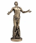 Bronze Nude Male Standing in Palms Sculpture