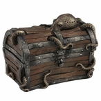 Bronze Octopus Cracked Treasure Chest Trinket Box