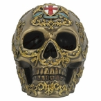 Bronze Patterned Skull w/ Coat of Arms w/ St. George's Cross Sculpture