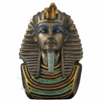 "Bronze Pharaoh Tutankhamun ""King Tut"" Bust Sculpture"