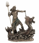 Bronze Poseidon with Trident Standing on Hippocampus Sculpture