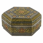 Bronze Red Arabesque Pattern Flat Lid Hexagonal Trinket Box