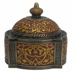 Bronze Red Arabesque Pattern Four Pillar Dome Trinket Box