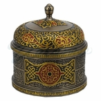 Bronze Red Arabesque Pattern Round Trinket Box