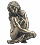 Bronze Sculpted Nude Female with Her Legs Bent Sculpture - 76094