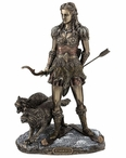 Bronze Skadi Norse Goddess of Winter, Hunt and Mountains Sculpture