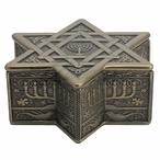 Bronze Star of David with Menorah Trinket Box