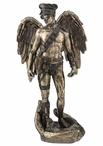 Bronze Steam Punk Winged Nude Male Standing on a Open Palm Sculpture