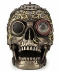 Bronze Steampunk Decorative Skull with Moveable Jaw Sculpture