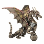 Bronze Steampunk Dragon Sitting and Holding Sphere Sculpture