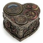Bronze Steampunk Heart Shape Trinket Box