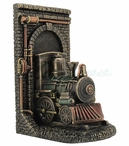 Bronze Steampunk Locomotive Train Out of the Tunnel Bookend
