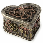 Bronze Steampunk Octopus Heartshaped Trinket Box