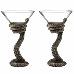 Bronze Steampunk Octopus Tentacle Martini Glasses, Set of 2