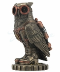 Bronze Steampunk Owl Bird Wearing Goggles and Jet pack Sculpture