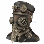 Bronze Steampunk Plague Doctor Bust Trinket Box