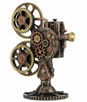 Bronze Steampunk Projector Sculpture with LED Light