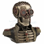Bronze Steampunk Skull Band Uniform Bust Trinket Box