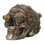 Bronze Steampunk Skull with Leather Texture Trinket Box