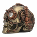 Bronze Steampunk Skull with Secret Drawer Trinket Box