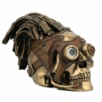 Bronze Steampunk Skull with Wire Hair and Leather Goggles Sculpture