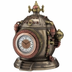 Bronze Steampunk Time Machine Trinket Box Clock