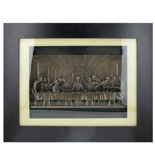 Religious Wall Decor bronze the last supper in wooden frame religious wall art - wall