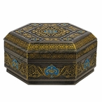 Bronze Turquoise Arabesque Pattern Flat Lid Hexagonal Trinket Box