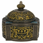 Bronze Turquoise Arabesque Pattern Four Pillar Dome Trinket Box