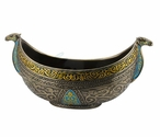 Bronze Turquoise Arabesque Pattern Long Bowl with Camel Head Ends