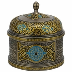 Bronze Turquoise Arabesque Pattern Round Trinket Box