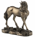 Bronze Unicorn with Head Turned to the Right Sculpture