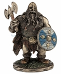 Bronze Viking Warrior with Double Bladed Axe Sculpture