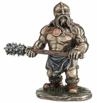 Bronze Viking Warrior with Long Spiked Club Sculpture