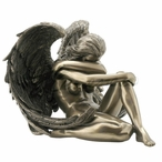 Bronze Winged Nude Female Sitting with Arm Holding Knee Sculpture