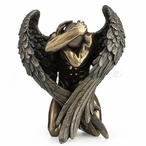 Bronze Winged Nude Male Kneeling with Hands Holding Head Sculpture