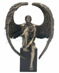 Bronze Winged Nude Male Sitting on a Plinth Sculpture