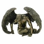 Bronze Winged Nude Male Sitting with Hands on the Floor Sculpture