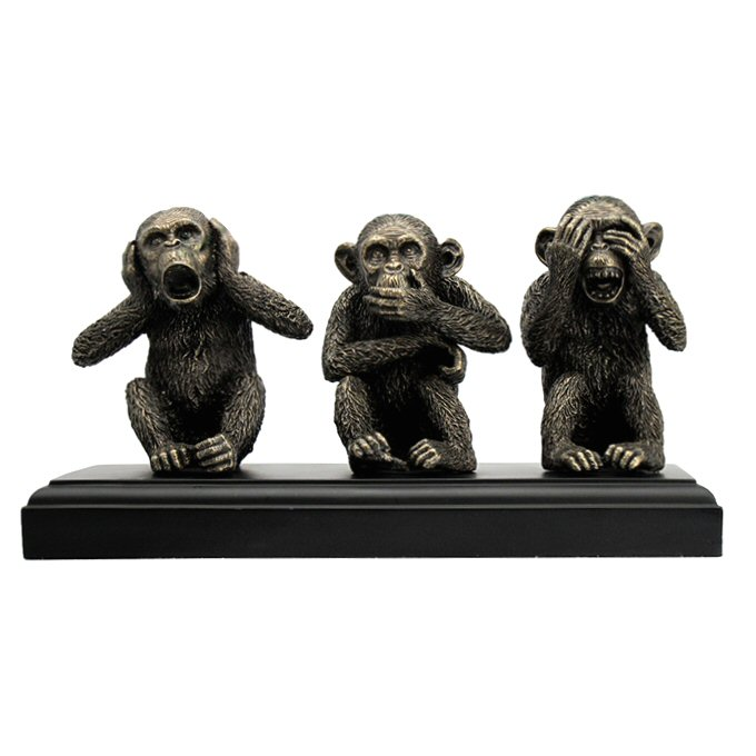 Bronze Wise Monkeys Hear No Evil Speak See Sculpture