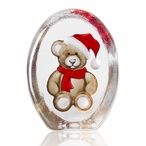 Brown and Red Christmas Teddy Bear Crystal Sculpture by Mats Jonasson