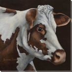 Brown and White Cow Wrapped Canvas Giclee Print Wall Art