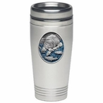 Brown Bear with Fish Blue Stainless Steel Travel Mug w/ Pewter Accent