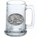 Brown Bear with Fish Glass Beer Mug with Pewter Accent