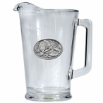 Brown Bear with Fish Glass Pitcher with Pewter Accent